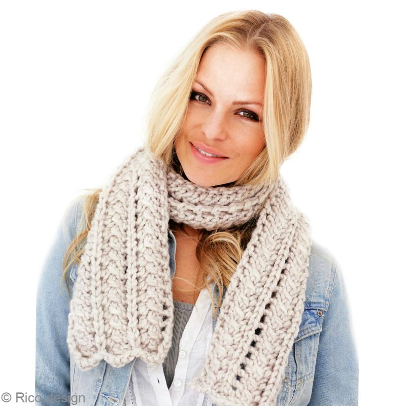Echarpe femme laine - Tricoter une echarpe grosse maille ...